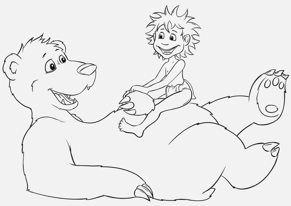 Baloo und Mowgli_outlines