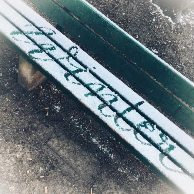 everywhereimlettering winter parkbank schnee lddergng handlettering lettering instadaily luckyme luckymecarohellip